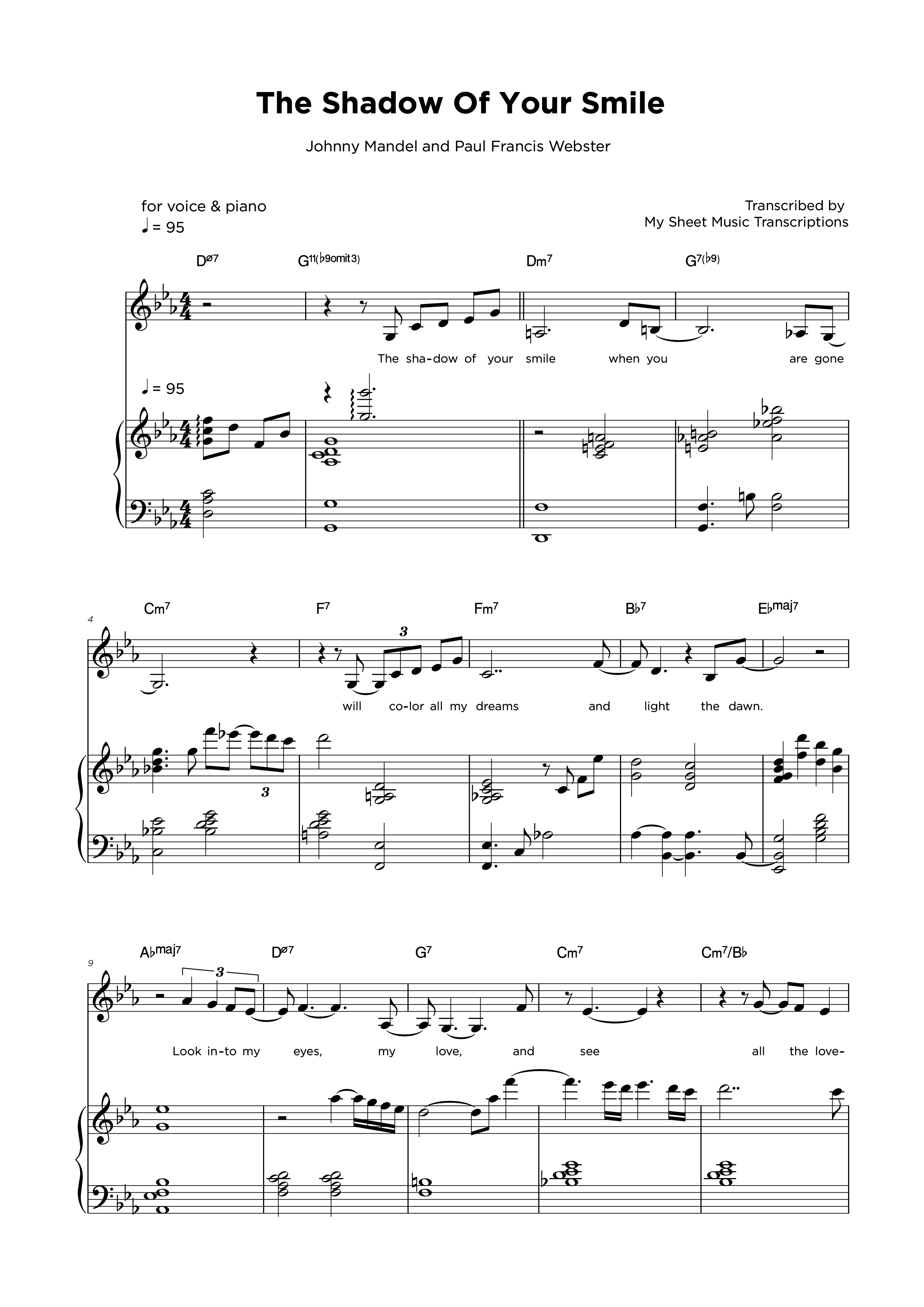 The Shadow of your smile - Piano & Vocal sheet music